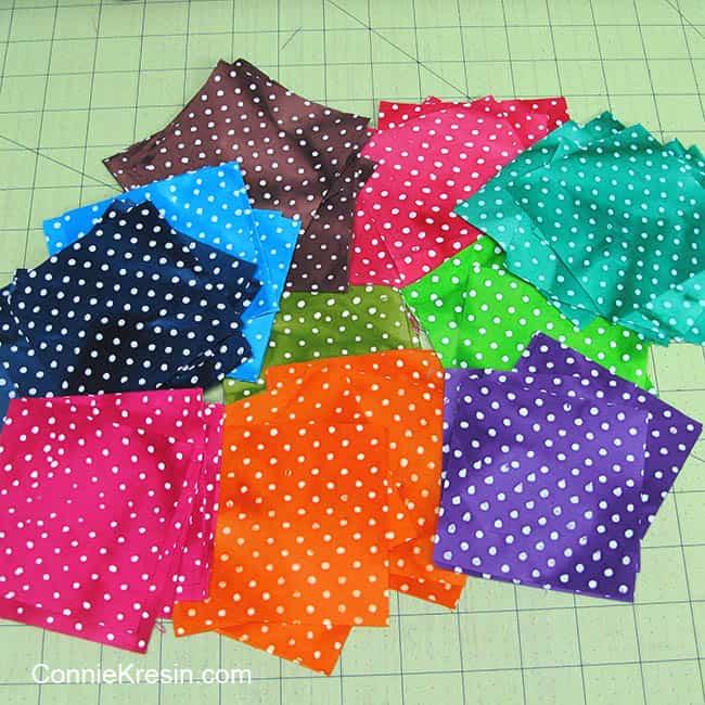 Twister Dots table topper batik fabrics