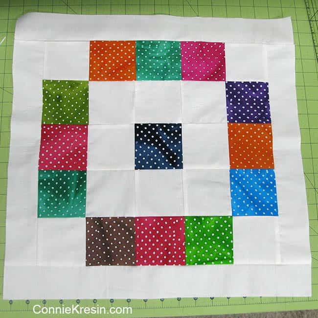 Twister Dots table topper batik rows and borde