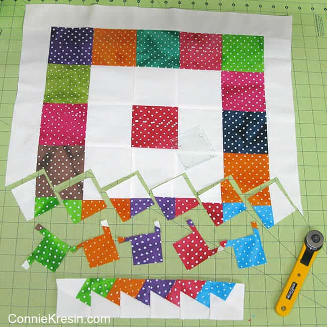 Twister Dots table topper cutting pieces