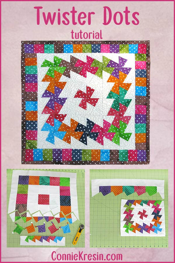 Easy to make Twister Dots quilted wall hanging