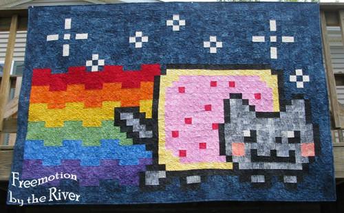 Nyan Cat Quilt in batiks