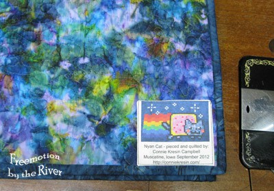 Label on Nyan Cat quilt