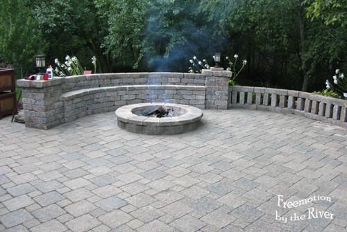 Brick patio and fireplace