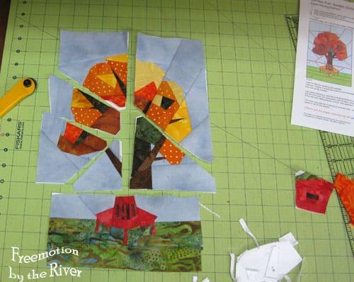 Paper pieced tree in batiks