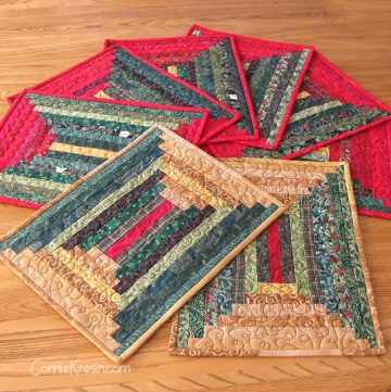 quilted log cabin placemats in a courthouse design