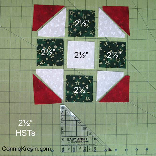 Christmas Mug Rug Tutorial size to cut the blocks