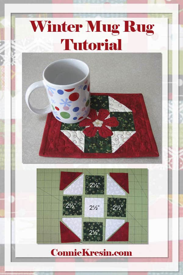 winter mug rug tutorial that is perfect for a Christmas gift