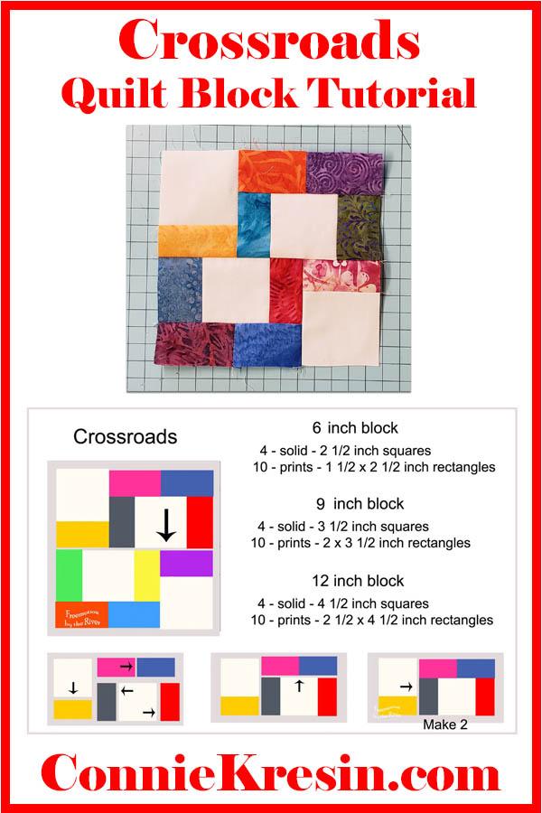 Crossroads quilt block in 3 different sizes tutorial