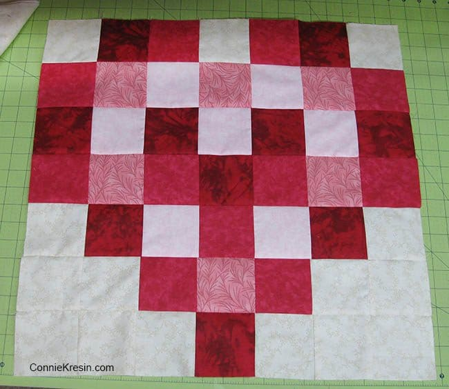 Twisting Heart block piecing