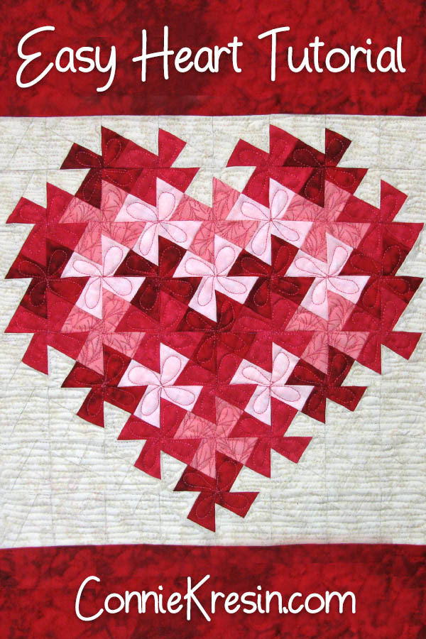 Easy quilt tutorial for the twister heart wall hanging