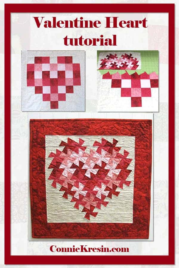 Valentine Heart tutorial for twisting heart quilt wall hanging