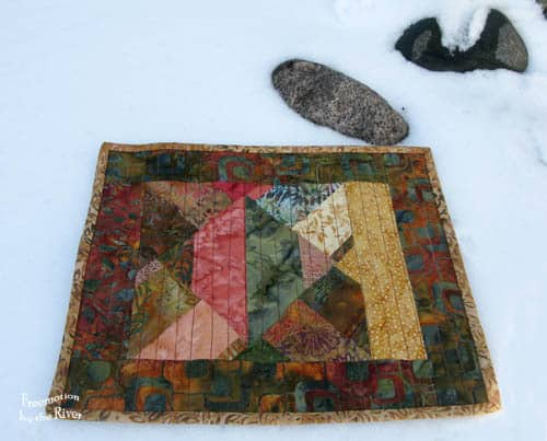 Batiks in the Snow Mug Rug