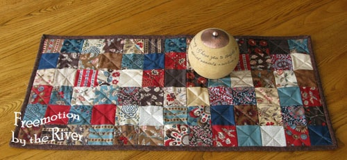 Vintage Chocolate Table Runner from 2 1/2 inch squares
