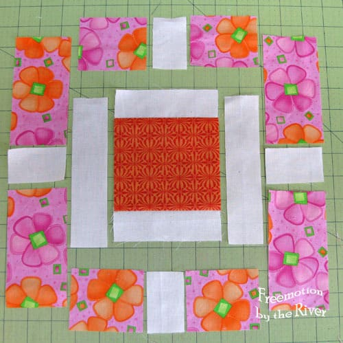 Garden Fence quilt block tutorial step 1