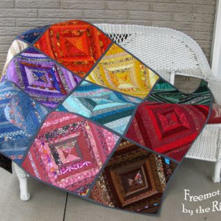 Tutorial for a string pieced blocks in a quilt as you go QAYG quilt