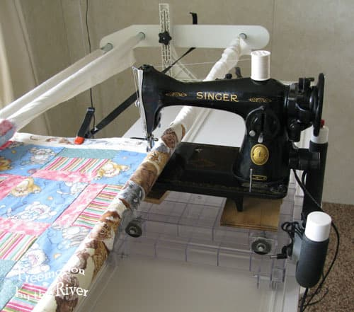 Vintage 4040 Singer On A Quilt Frame Freemotion By The River Custom Quilting Frame For Domestic Sewing Machine