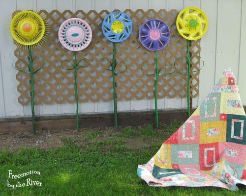 DIY Hubcap flowers for your garden
