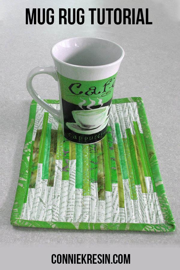 Mug rug tutorial tiny strips green
