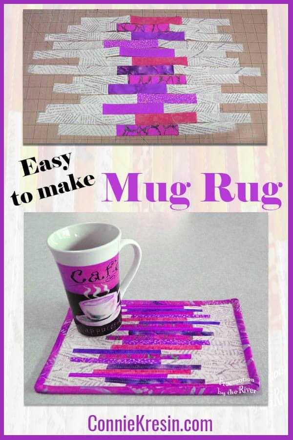 Mug rug tutorial made with tiny fabric strips