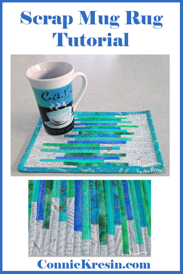 Teal String mug rug tutorial