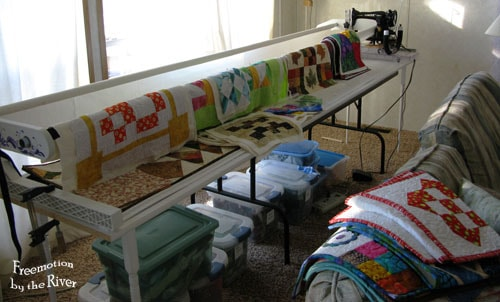 Giant tablerunner or....Lazy Sunday quilt on a frame