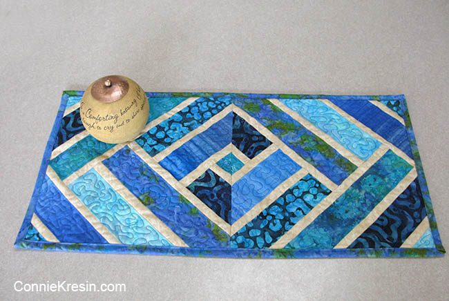 Broken Herring Bone quilt block table runner blue batiks