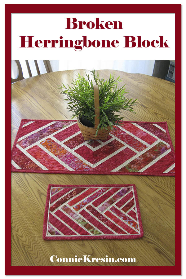 Broken Herringbone quilt block and table runner