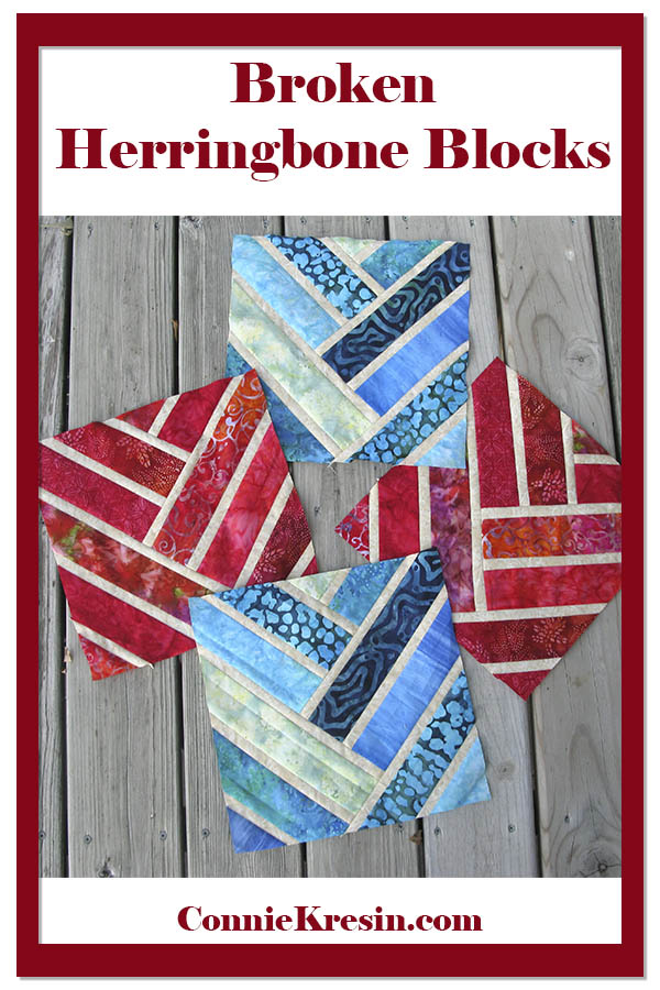 Broken Herrinbone quilt blocks in two colors of batiks