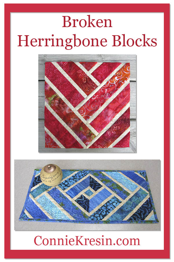 Broken Herringbone quilt block used for tablerunner