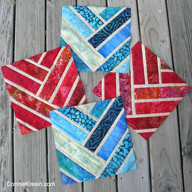 Broken Herrinbone quilt blocks in two colors of batiks