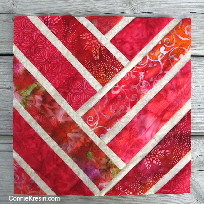Broken Herringbone quilt block in red
