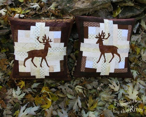 Log Cabin Deer Pillow