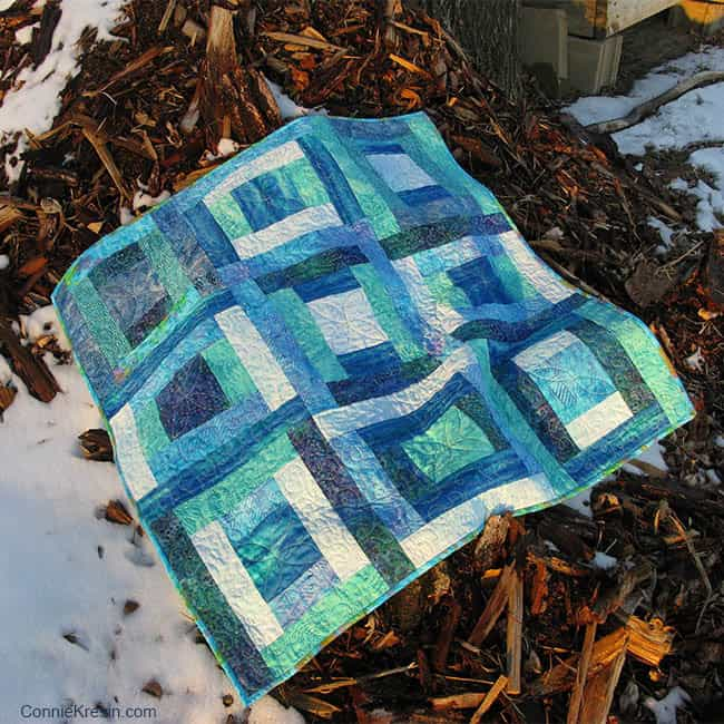 River Squares Quilt in blue batiks