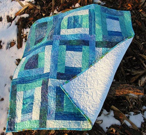River Squares Quilt In Blue Batiks Freemotion By The River