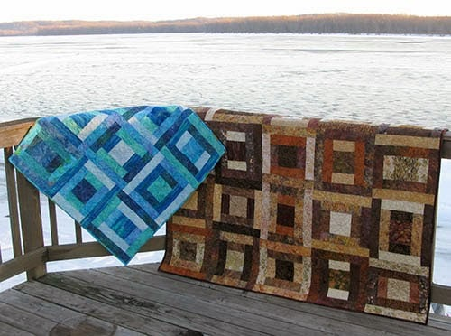 Blue River Squares Quilt Pattern in Blues