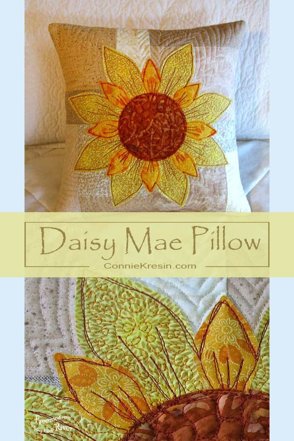 Quilted Pillow using the AccuQuilt GO! Flower Power Die #AccuQuilt #applique #pillow #quilting