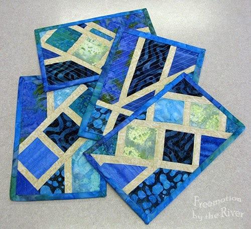 Blue batik Broken Herringbone blocks for mug rugs