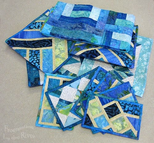 Lots of blue quilt projects at Freemotion by the River