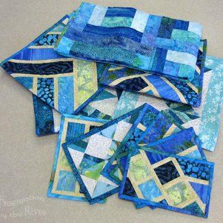 Blue batik Broken Herringbone blocks