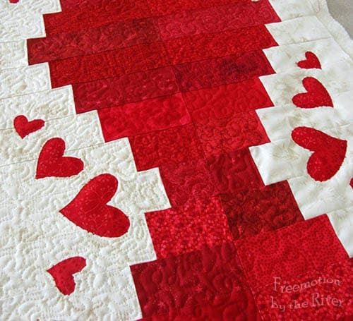 closeup Valentine's Day table runner