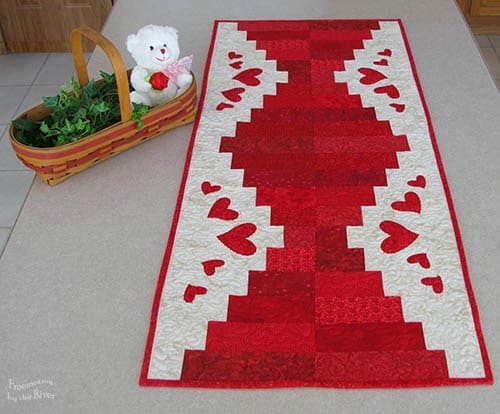 Valentine's Day table runner with hearts and a bear