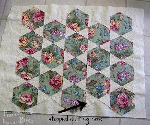 Cabbage Rose quilt in the Snow