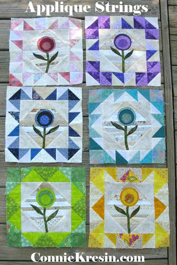 Applique flower string blocks in many different colors