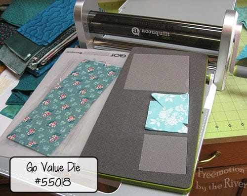 Using the AccuQuilt GO! cutter and die to make my HST quilt pieces