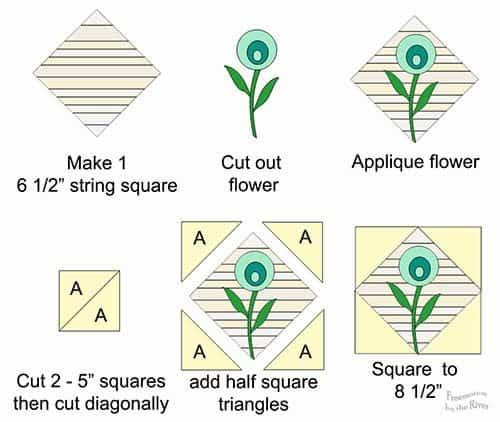 Teal Flower Block Tutorial diagrams