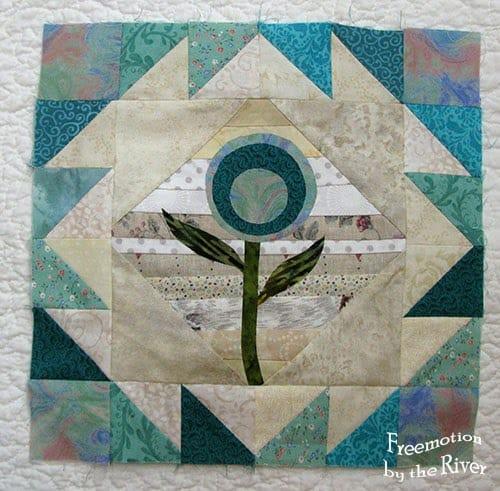 Teal Applique string quilt block