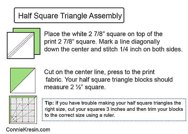 learn how to make perfect half square triangle blocks following this diagram