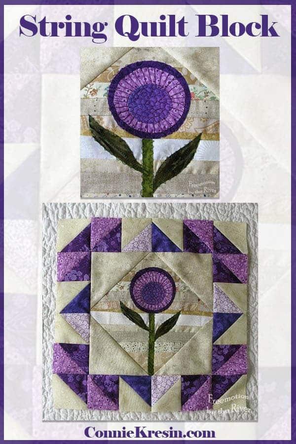 Purple applique string quilt block continues the series of blocks