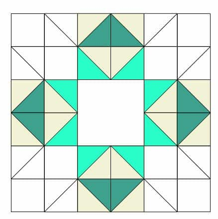 Cutting directions for the Star Sampler block teal section