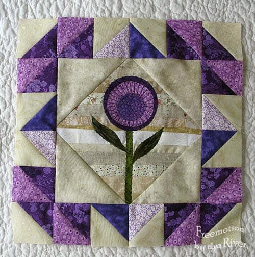 Appliqued Purple String Flower block tutorial
